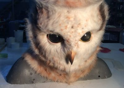 Cute Fluffy White and Brown Spotted Animatronic Owl